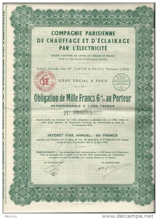 Compagnie Parisienne De Chauffage Et D´Eclairage Par L´Electricité - Electricité & Gaz