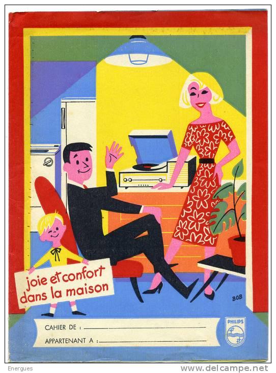 Protège-cahier, Philips, Illustrateur Bob, Joie Et Confort Dans La Maison, Tourne-disquesn,lampes,El Gé - Elettricità & Gas