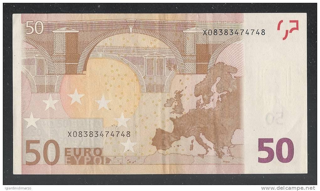 EURO - GERMANIA - 2002 - RARA BANCONOTA DA 50 EURO DUISENBERG SERIE X (R013C5) - CIRCOLATA - IN BUONE CONDIZIONI. - EURO