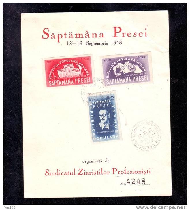 CORTON PHILATELIC 1948 PERF,+IMPERF,SAPTAMANA PRESEI,7 STAMPS,ROMANIA. - Carnets