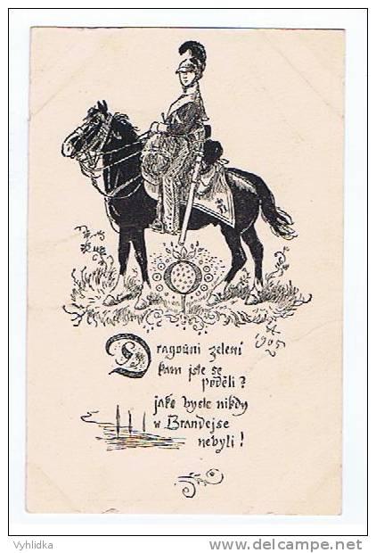 Mikolas Ales Liedkarte Dragouni Zeleny W Brandejse Brandys 1905 - Künstlerkarten