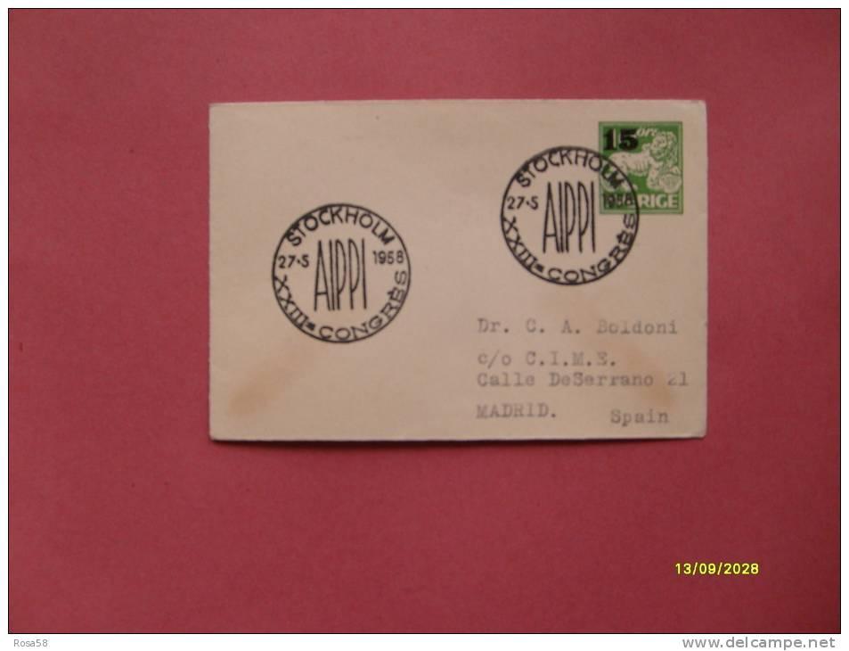 INTERO POSTALE Annullo Speciale Sweden Sverige SVEZIA  Su Lettera Postale 15 Ore Verde SOVRASTAMPATO 27.5.1958 - Svezia