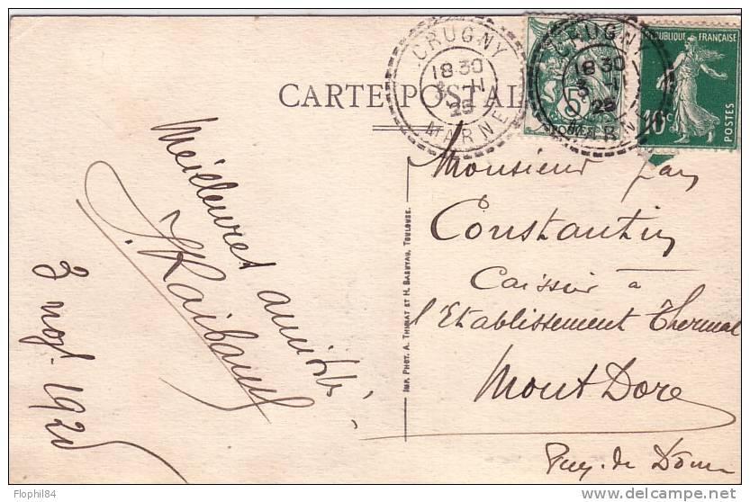 MARNE-CRUGNY T 84 DU 3-11-1925 SUR 5c TYPE BLANC ET 10c SEMEUSE. - Postmark Collection (Covers)