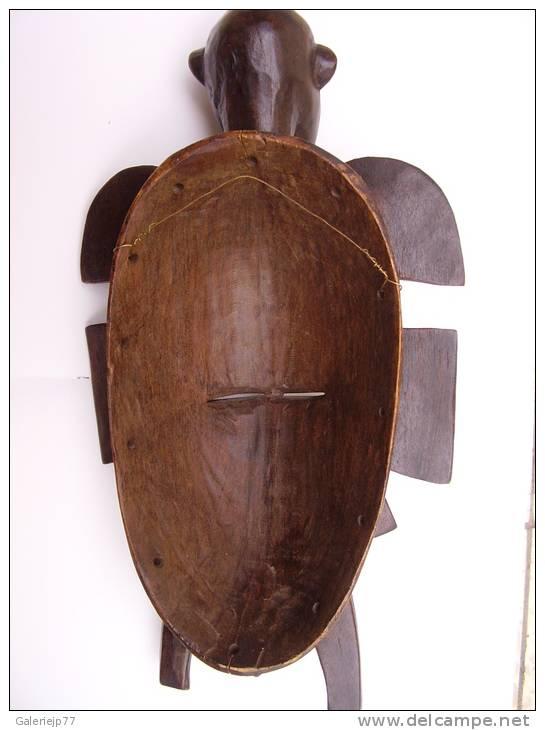 Art Africain MASQUE KPÉLIÉ SENOUFO CÔTE D'IVOIRE Bois Patine Noir 33cm X 17cm X 9cm 450gr - Art Africain