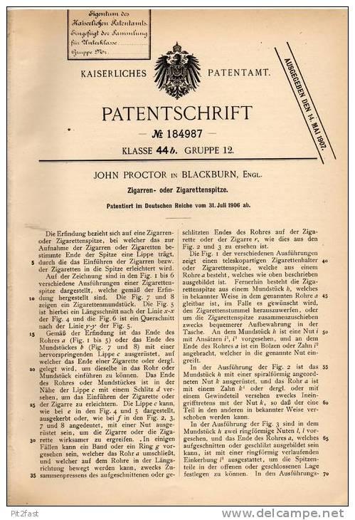 Original Patentschrift - J. Proctor In Blackburn , England , 1906 , Spitze Für Cigarre Oder Zigarette , Cigar !!! - Cigarette Holders