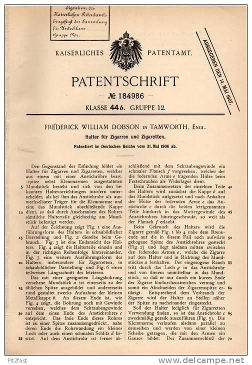 Original Patentschrift - F. Dobson In Tamworth , England , 1906 , Halter Für Cigarren Und Zigaretten , Cigar !!! - Cigarette Holders