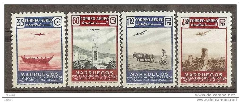 MA369-L4144TTOM.Maroc.Mar Occo.Paisajes Y Avion..MARRUECOS  ESPAÑOL.1953. (Ed 369/2**) Sin Charnela.MUY BONITO - Transporte