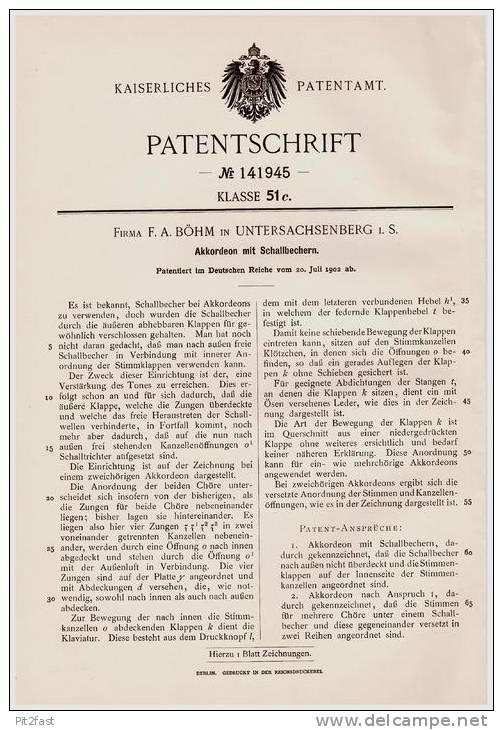 Original Patentschrift - Fa. F. Böhm In Unter - Sachsenberg I.S. B. Klingenthal , 1902 , Akkordeon Mit Schallbechern ! - Musikinstrumente