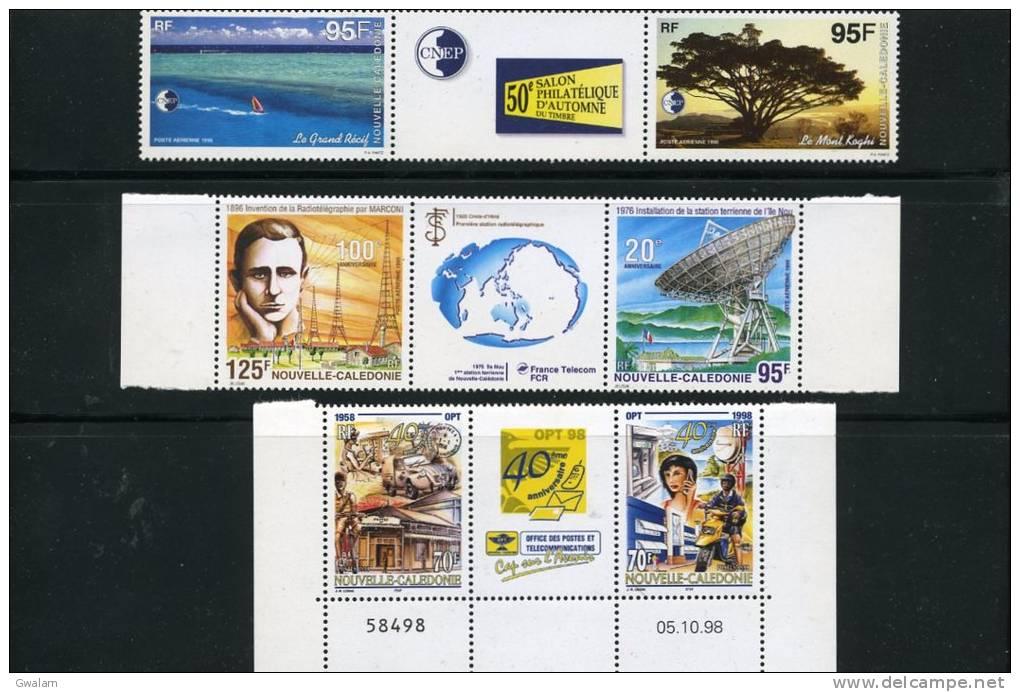 NOUVELLE CALEDONIE 3 Triptyques Neufs Xx Avec Vignette N°YT 776-777 PA 333A 339A - Neukaledonien