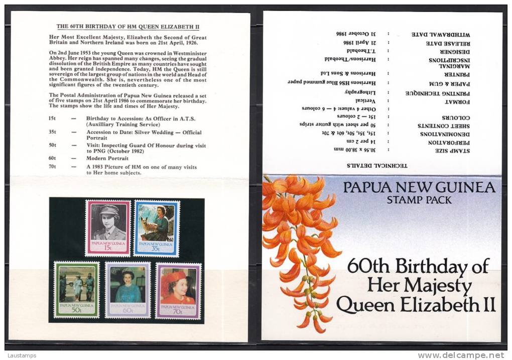 Papua New Guinea 1986 60th Birthday Of Her Majesty Queen Elizabeth II Stamp Pack - Papouasie-Nouvelle-Guinée