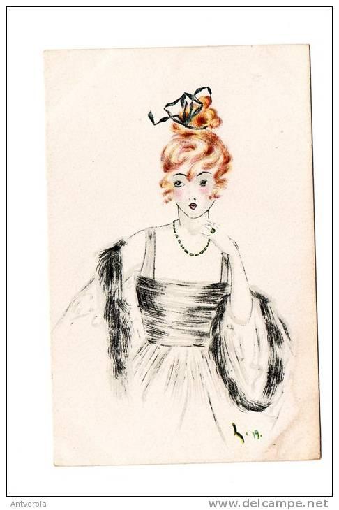 PAUL HECKSCHER Mooie Art Deco Kaart  Modiste Ongelopen  Zie Scan - Illustrators & Photographers