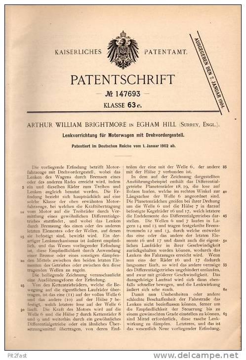 Original Patentschrift - A. Brightmore In Egham Hill , Surrey , 1902 , Lenkvorrichtung Für Motorwagen , Automobile !!! - Cars