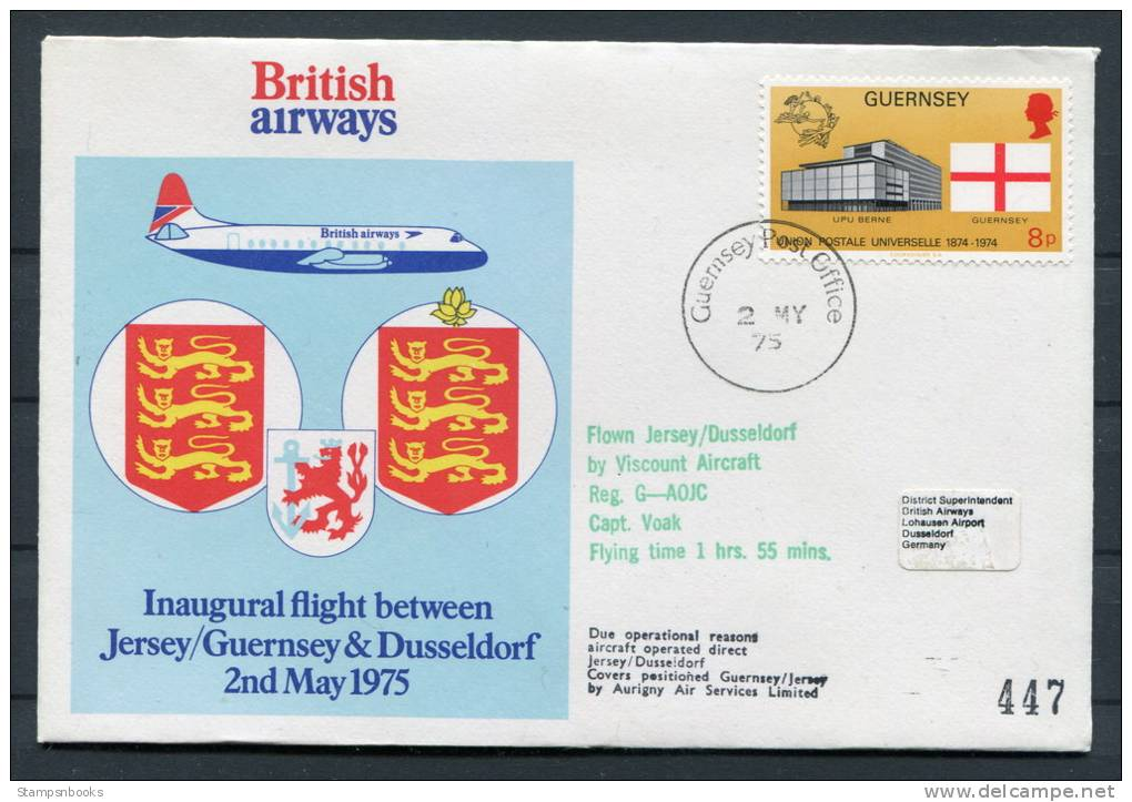 1975 Guernsey - Dusseldorf - Guernsey Germany British Airways Viscount Aircraft Flight Covers (2) - Guernsey