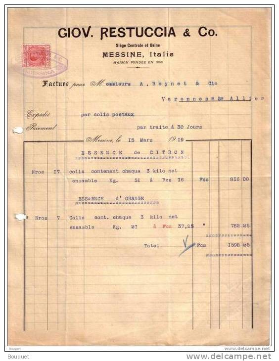 ITALIE - MESSINE - ESSENCE D´ORANGE - GIOV. RESTUCCIA & CO. - 1919 - Italie