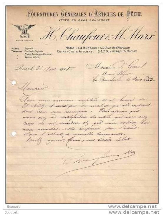 PARIS - FOURNITURES GENERALES D´ARTICLES DE PÊCHE - H. CHAUFOUR & M. MARX - LETTRE - 1915 - France