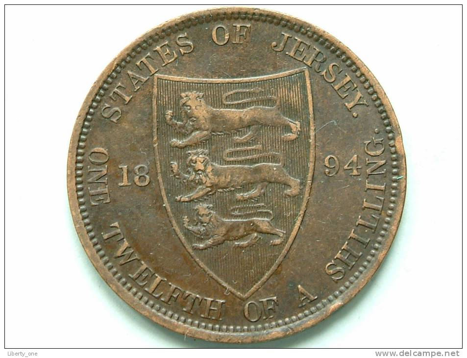 1894 - 1/12th OF A SHILLING / KM 8 ( Uncleaned - For Grade, Please See Photo ) ! - Jersey