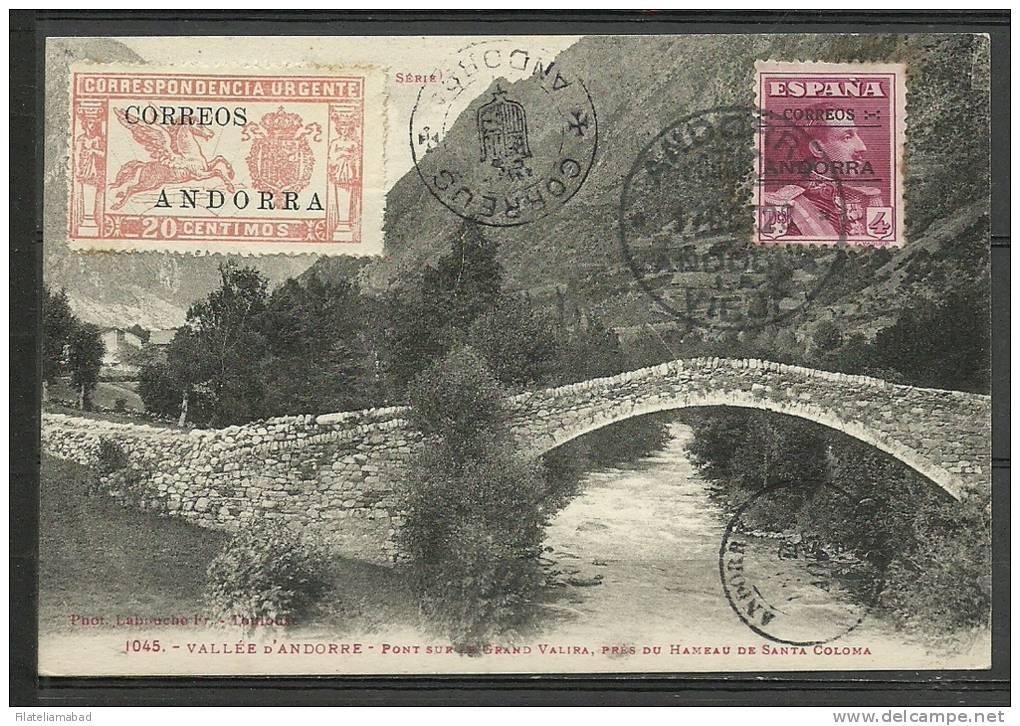 ANDORRA- CARTA POSTAL CON SELLO MATASELLADO Y TAMPON DE COMPLACENCIA TAL VEZ EMITACIÓN.P.14) - Andorra