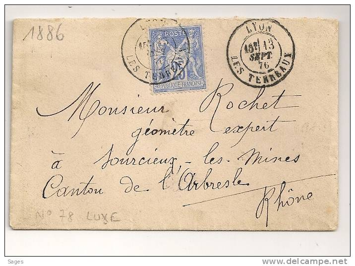 25c Outremer LUXE, Lyon LES TERREAUX Sur Enveloppe SAGE. - 1876-1898 Sage (Tipo II)
