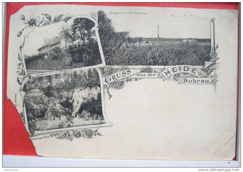 Gruss Aus Der Heide Dobrau Ziegelwerke Voyagé 1904 Timbre Cachet Coln  + Tillendorf Plein - Heide