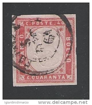 ITALIA Regno-1861: Effigie Vittorio Emanuele II° In Rilievo-valore Usato Da 40 C. Rosso VARIETA´ EFFIGIE CAPOVOLTA. - Usati