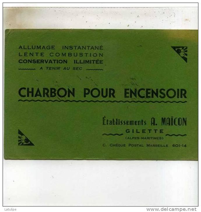 Buvard De Charbon Pour Encensoir Des  Ets A  .Maicon  A Gilette 06 Voir Scan - Limpieza