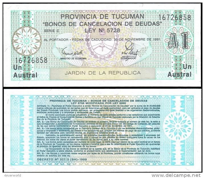 ARGENTINA Tucuman Province 1 Austral Banknotes UNC - Billets