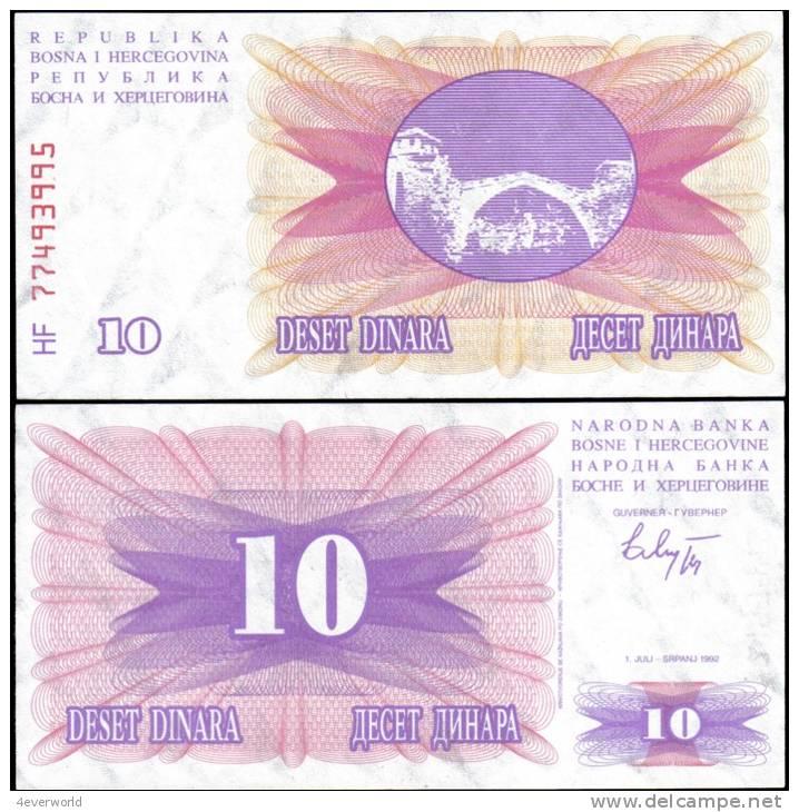Bosnia & Herzegovina 1992 10 Dinara Banknotes UNC - Andere