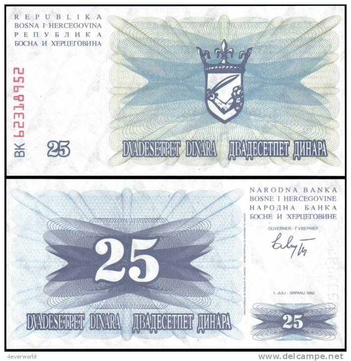 Bosnia & Herzegovina 1992 25 Dinara Banknotes UNC - Andere