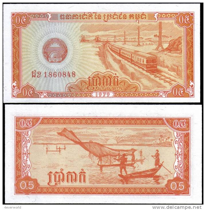 Cambodia 1979 0.5 Riel Train Banknotes Uncirculated UNC - Andere