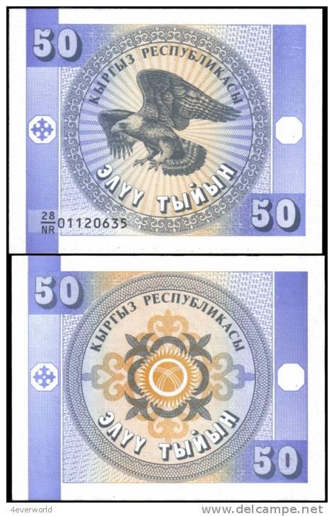 Kyrgyzstan 50 Tiyin Eagle Banknotes Uncirculated UNC - Andere