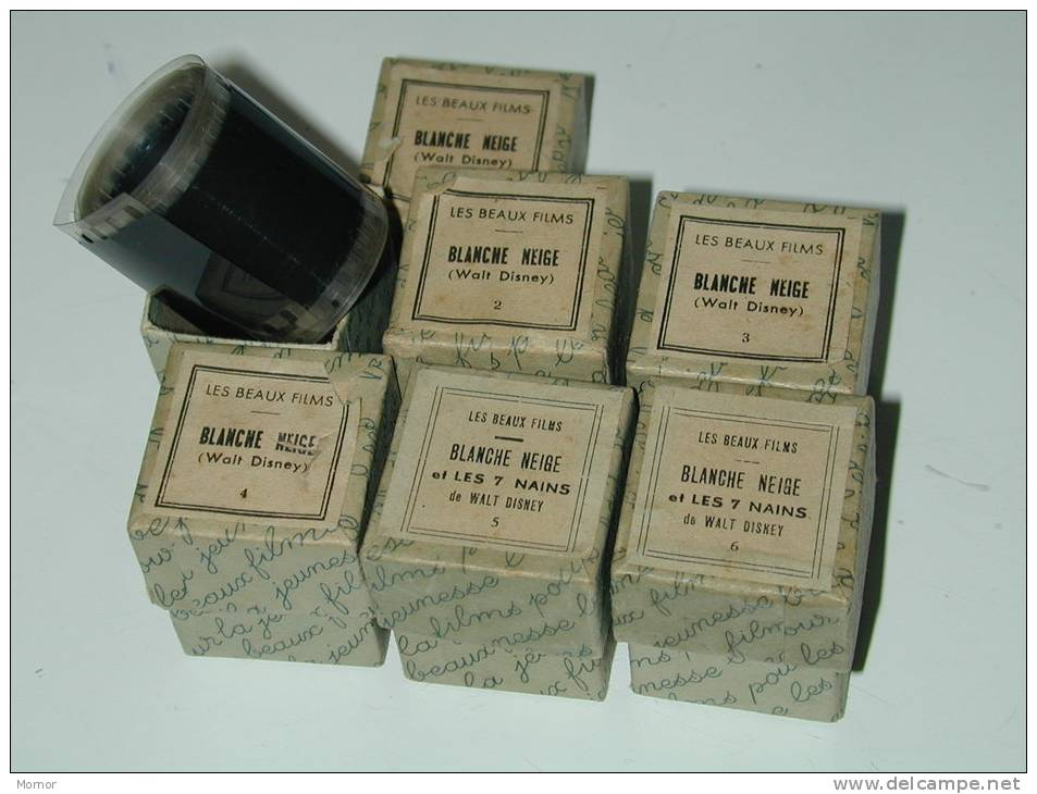 6  Bobines FILMS FIXES Noir Et Blanc Blanche  Neige Et Les 7 Nains Walt Disney - 35mm -16mm - 9,5+8+S8mm Film Rolls