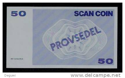 "Test Note ""SCANCOIN"" Testnote, 50 Units, RRRRR, UNC, Provsedel 130 X 72 Mm, Type B - Schweden"
