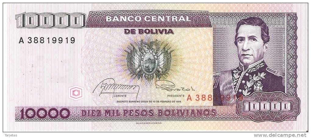 BILLETE DE BOLIVIA DE 10000 PESOS  DEL AÑO 1984 CON RESELLO PARTE TRASERA (RARO)  SIN CIRCULAR-UNCIRCULATED - Bolivia