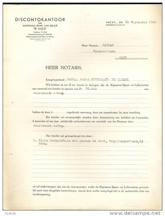 FACTUUR AALST / ALOST  Discontokantoor Der Nationale Bank Van België 12/09/1949 - Otros
