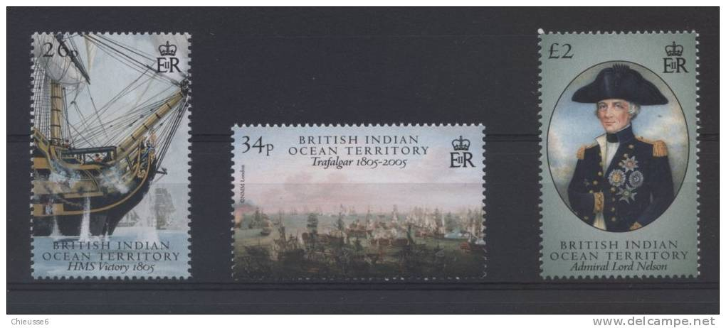 SOcéan Indien Anglais  **  -  335 à 337  - Trafalgar   Voilier    Lot  131 - Territoire Britannique De L'Océan Indien