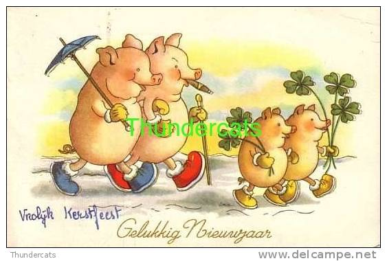 CPA ILLUSTRATEUR DESSIN COCHON  HUMANISE  ** ARTIST DRAWN CARD PIG HUMANIZED - Cochons