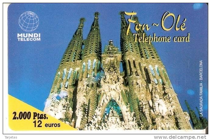 TARJETA DE FON-OLE DE LA SAGRADA FAMILIA DE 2000 PTAS- 12 EUROS (GAUDI) MUNDI TELECOM EN BLANCO - España