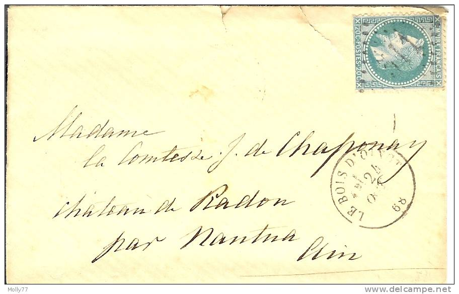 Lettre De Le Bois D'oingt à Nantua - 1849-1876: Période Classique