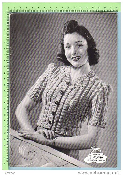 1940 Corticelli Hand Knit Sweaters + Cardigans ( 9 Models Sweater, Cardigan, Bed And Girl´s Jacket And Sleeveless ) - Wool