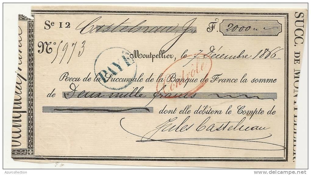 CHEQUE DE CASTELNAU . 34 . 1866 - Bills Of Exchange