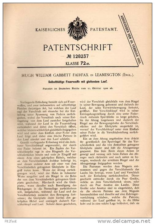 Original Patentschrift - Hugh Fairfax In Leamington , England , 1900 , Pistole Mit Gleitendem Lauf , Pistol !!! - Equipement