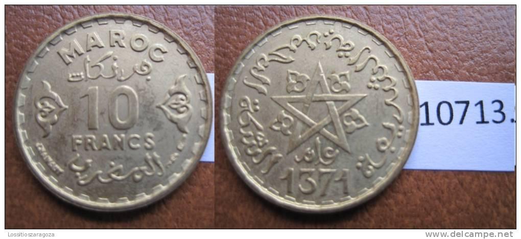 Marruecos 10 Francos 1371 / 1952 DC - Monedas