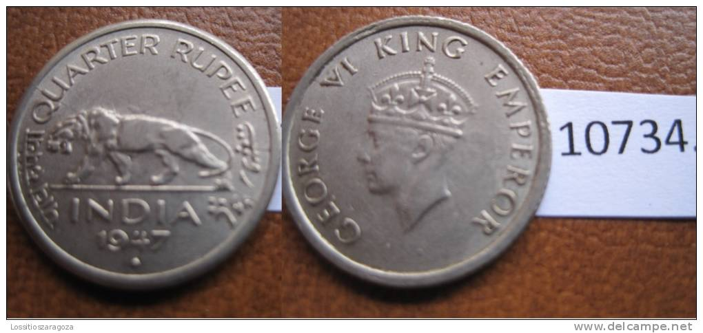 India Britanica , 1/4 Rupia 1947 B - Otros – Asia