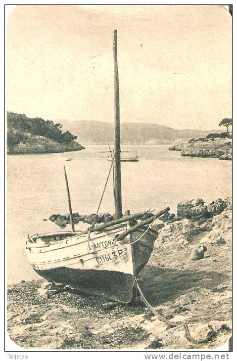 CALENDARIO DEL AÑO 1950 DE UNA BARCA Y PAISAJE COSTERO (CALENDRIER-CALENDAR) - Calendarios