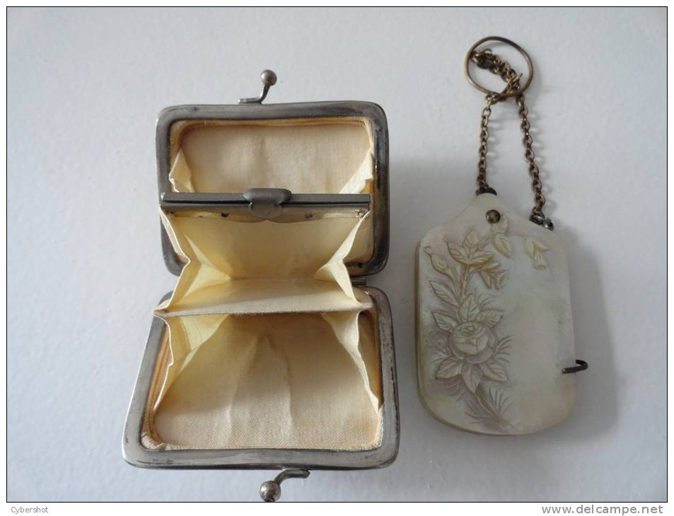 RARE : ENSEMBLE ANCIEN PORTE MONAIE & CARNET DE BAL (NACRE) - Other Collections