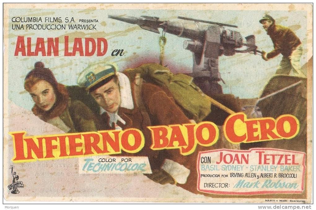 Programa De Cine INFIERNO BAJO CERO. Cine Marin De Teruel. 1956 - Cine