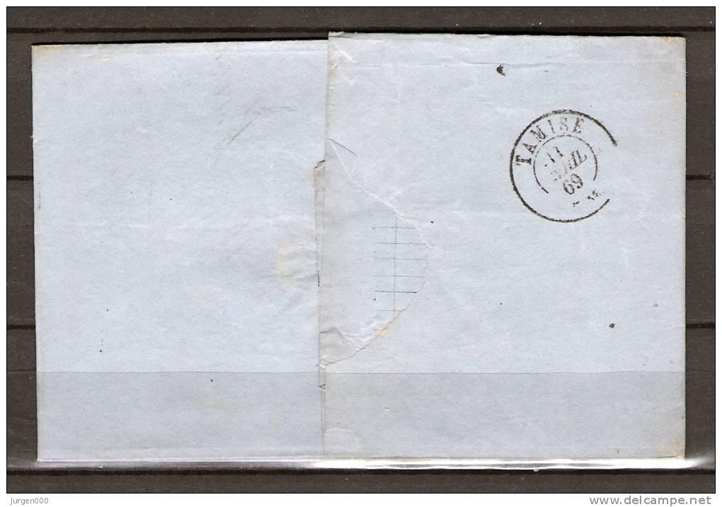 Nr 17 Op Brief Van Anvers Naar Tamise 10/04/1869 - L 12 Anvers (GA5063) - 1865-1866 Profil Gauche