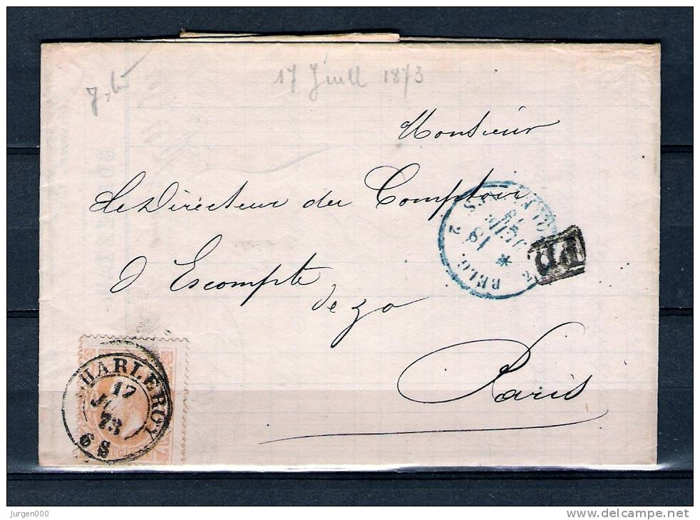 Nr 33 Op Brief Van Charleroy Naar Paris (France) PD 17/06/1873 (GA5247) - 1869-1883 Léopold II