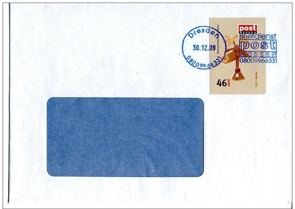 Post Modern Tür  5 Aus Dem Adventskalender 2008 Portogerecht Auf C6-Brief - BRD