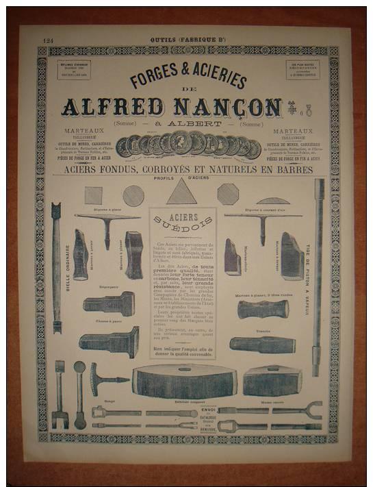 """Rare Publicité 1899 """" ALFRED NANCON Forges & Aciéries Albert ( Somme ) """" Autres Pubs Machines Outillage - Advertising"""